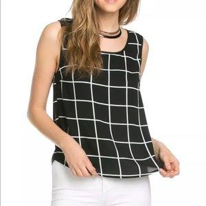 Black and White Sleeveless Top NWT